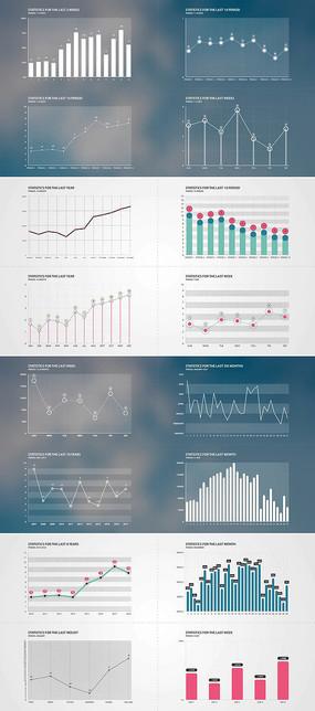 多组数据统计信息图表ae模板