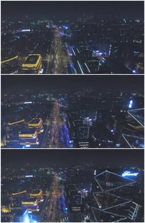 繁华都市摩天大楼夜景航拍视频