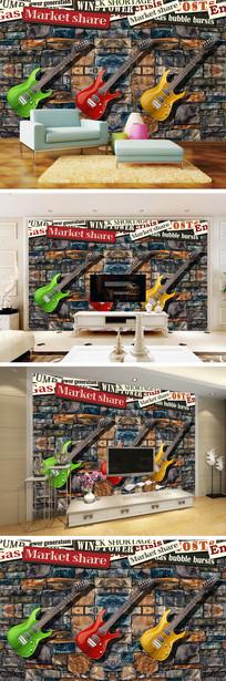 复古怀旧墙壁吉他电视背景墙
