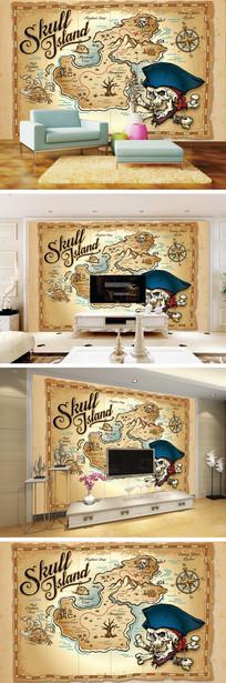 复古怀旧手绘航海图电视背景墙