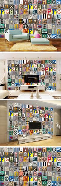 复古怀旧英文字母电视背景墙 TIF