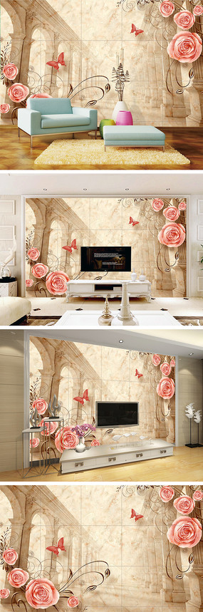 宫殿玫瑰大理石纹电视背景墙