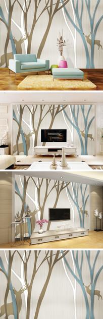 欧式抽象树麋鹿电视背景墙