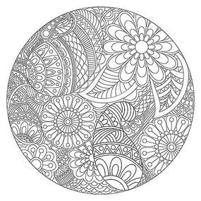 黑白手绘花卉图案背景 手绘减压涂色书花纹图案 手绘条纹设计插画图图片