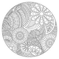 手绘减压涂色书花纹图案