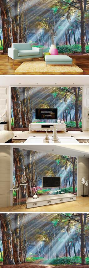 唯美森林电视背景墙