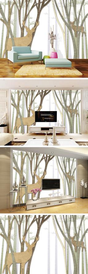 现代简约抽象树麋鹿电视背景墙