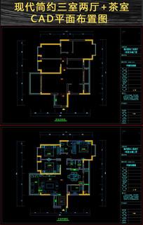 现代简约三房CAD平面施工图 dwg