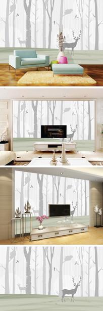 现代简约森林麋鹿电视背景墙