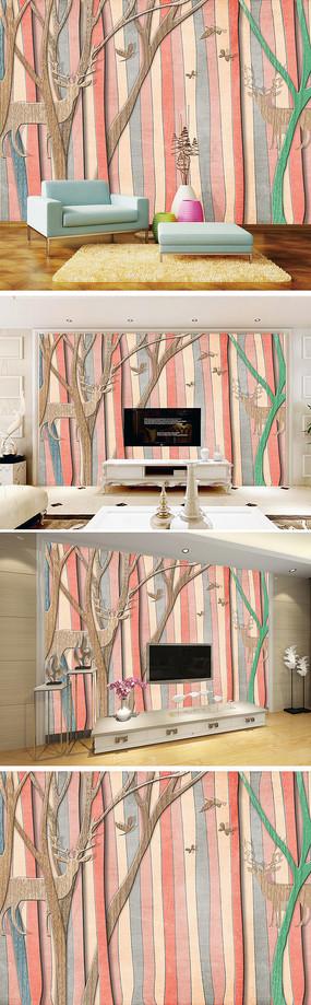 现代简约树林麋鹿电视背景墙