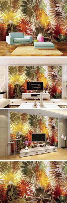夏天树叶电视背景墙