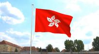 有背景香港区旗飘扬视频