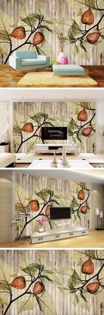 中式灯笼花木纹电视背景墙