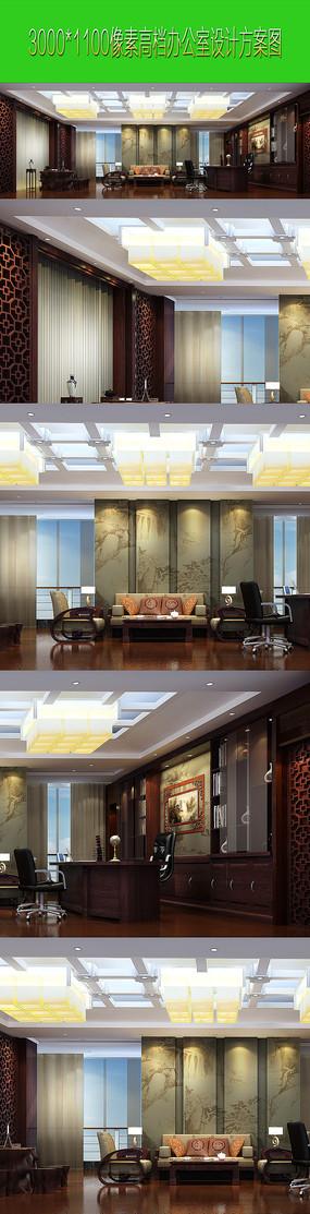 中式高档办公室室内设计效果图