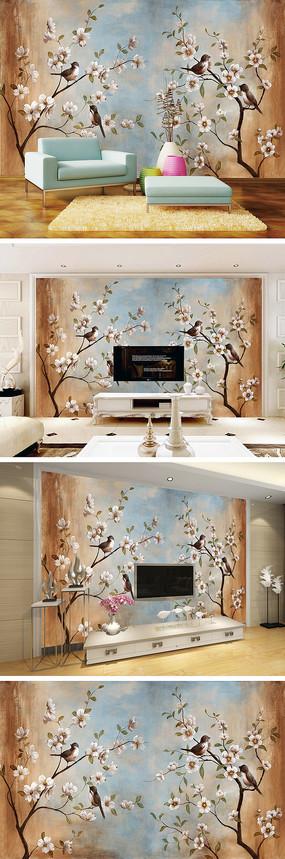 中式工笔花鸟电视背景墙