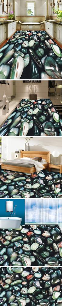 鹅卵石3D立体地板地砖地画 TIF