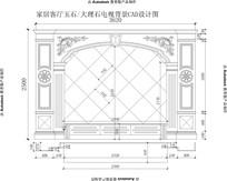 会客厅欧式电视背景CAD