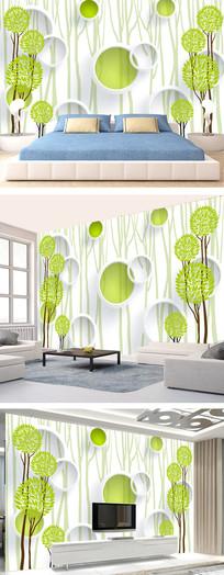 时尚绿树手绘背景墙