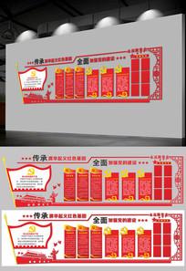 通用红色党建文化墙设计模板