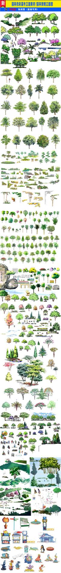 园林色彩灌木分层立面素材