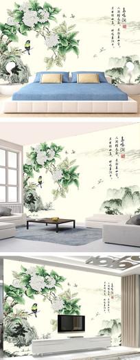 中国风鸟语花香电视背景墙