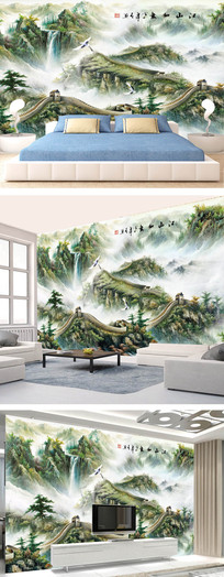 中式大气长城高山流水风景背景墙