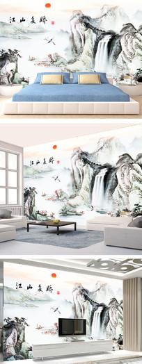 中式水山水墨画背景墙