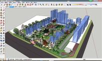 中式住宅小区园林景观su模型