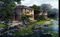 美式别墅自然庭院