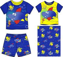 婴童家居服矢量印花图案