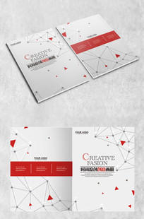 红色大气几何画册封面