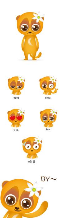 懒猴卡通吉祥物形象及表情AI设计