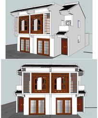 岭南风格新农村联体住宅模型 skp