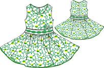 女童印花连衣裙设计手稿