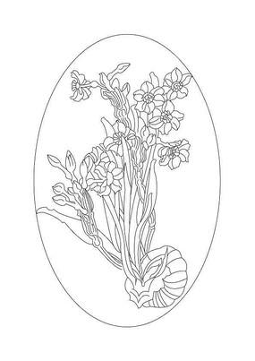 水仙花雕刻纹样