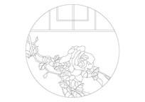 圆形牡丹漏窗雕刻纹样
