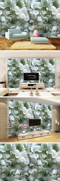玉雕喇叭花背景墙