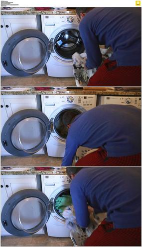 男人洗衣服实拍视频素材 mov