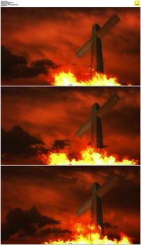 火烧十字架背景视频素材
