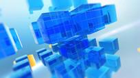 蓝色玻璃方块新闻片头素材 mp4