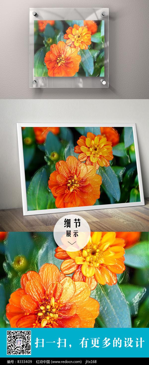 橙色立体花朵装饰无框画图片