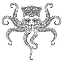 黑白手绘章鱼装饰画