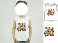 卡通男童T恤印花图案