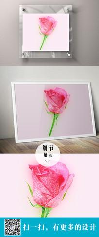 玫瑰花立体设计无框画