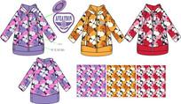 女童棉衣矢量手稿款式图