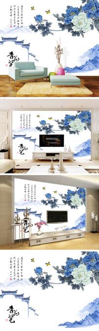 青花瓷牡丹屋檐背景墙