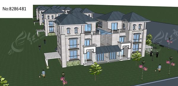 中式别墅SU模型图片