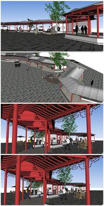 中式古典风格长廊SU模型
