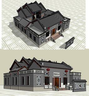 祠堂建筑草图大师SU模型
