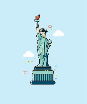 自由女神像卡通插画